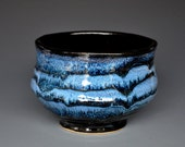 Blue Pottery Tea Bowl Stoneware Blue Black Ceramic Bowl D