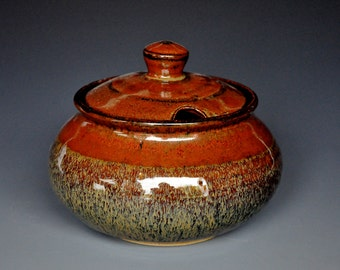 Tawny Sunset Sugar Bowl Small Ceramic Stoneware Jar B