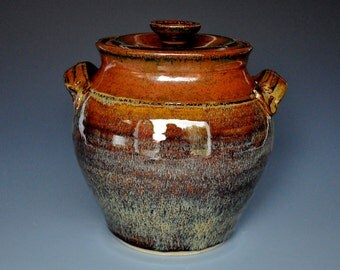 Dark Burnt Umber Lidded Ceramic Pottery Jar  A