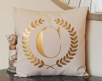 Metallic Gold Pillow - Monogram Pillow - Hostess Gift - Dorm Decor - Wreath - Personalized Pillow - Metallic Pillow - Decorative Pillow
