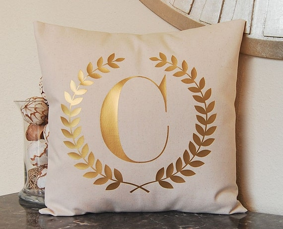 Metallic Gold Pillow, Gold Pillow, Gold Monogram, Metallic Decor, Metallic Pillow, Personalized Pillow, Metallic Silver Pillow, Throw Pillow