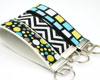 BUY 4 GET 1 FREE- Keychain Wristlet- Key Fob  Dot Chevron Rectangle Blue Black Lagoon by Michael Miller