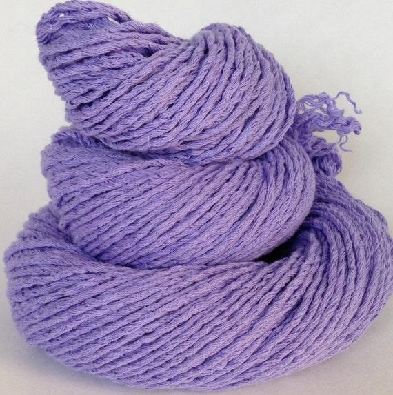 Cotton Yarn Worsted Weight Purple Reclaimed Handspun Yarn