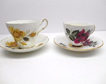 Vintage Rose Teacups and Saucers / Yellow Rose Regency Teacup/ Red  Rose Colelough Teacup