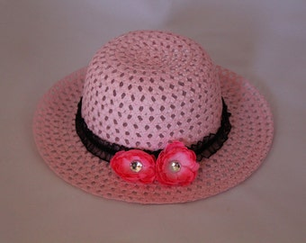 Tea Party Hat - Pink Easter Bonnet with Black Ribbon - Girls Sun Hat - Pink Easter Hat - Sunday Dress Hat - Derby Hat - U15