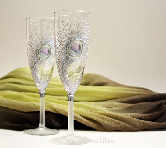 Bleached Peacock Feather Hand Painted Champagne Glasses set of 2 Pastel Violet Pink Gold Silver Light Blue