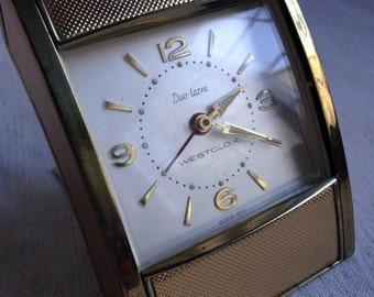 Vintage westclox alarm clock  travel alarm clock mid century modern clock