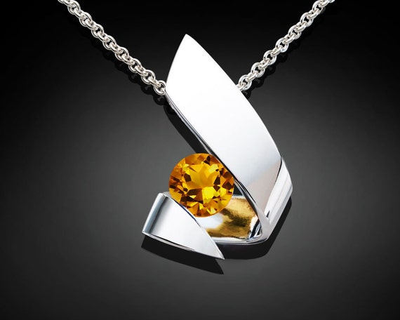 citrine necklace, citrine pendant, November birthstone, silver pendant, gemstone necklace, modern jewelry, birthday gift, for her - 3440