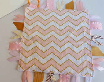 Ribbon Sensory Baby Girl- Glitz Pink and Gold Chevron with white minky - Ready to ship