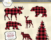 Buffalo Plaid Clipart, Animal Silhouette Clipart, Masculine Clipart, Instant Download, Commercial Use