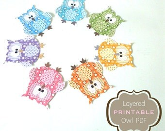 50% Off - DIY Paper Owl Printables - 7 Layered Papercraft Embellishments in Purple, Blue, Turquoise, Green, Yellow, Orange and Pink