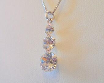 Genuine Swarovski Triple Crystal Pendant Necklace