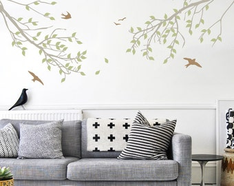 Branches and Birds Wall Decal - Tree Branch Wall Sticker - WAL-2114C