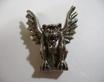 Vintage Three-Dimensional Silver Tone Griffin Brooch