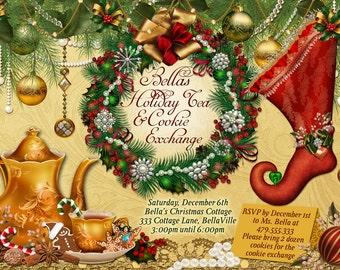 il_340x270.679723621_3fjb victorian christmas tea party invitation holiday tea party,Christmas Tea Party Invitations