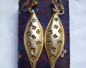 Topaz Rhinestone Drop Cheetah Print Earrings