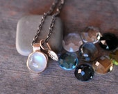 Moonstone Necklace - OR Choose Your Own Gemstone - Silver and Gold Necklace - Leaf Necklace