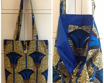 African print cotton tote bag