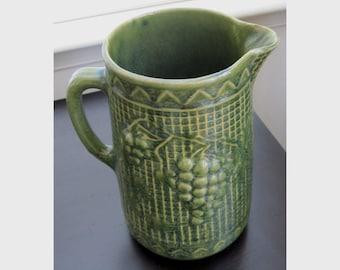 Antique Yellow Ware Stoneware Pitcher Green Grape & Basketweave