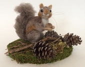 Squirrel Needle Felted Faux Taxidermy Sculpture