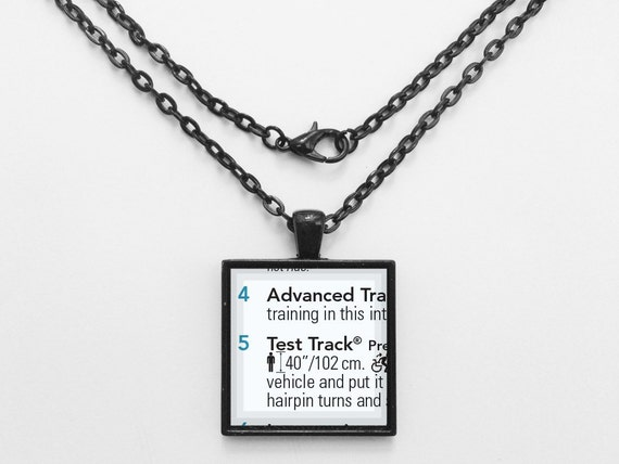 Test Track Necklace from Walt Disney World Epcot Park Map