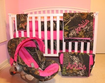 7pc Camo Mossy Oak fabric & pink crib bedding nursery set with diaper bag and carseat cover