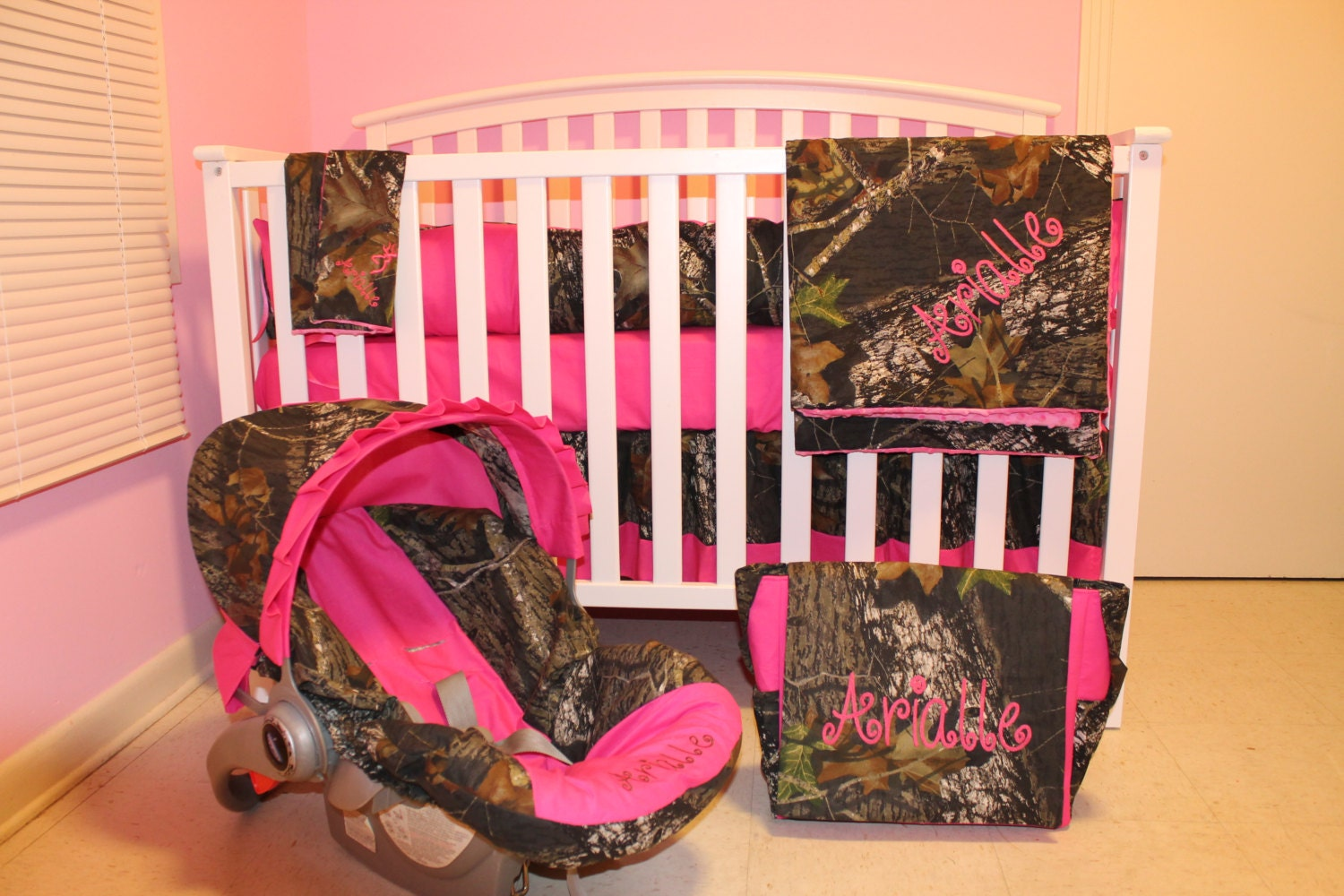 Baby cribs in ghana - 7pc Camo Mossy Oak Fabric Pink Crib Bedding Nursery Set With Diaper Bag And Carseat Cover