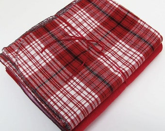 Set of 2 Red Swaddling Blankets - Flannel Receiving Blankets