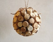 Extra Large Wine Cork Ball Ornament - White Wine Tips - Ready to Ship