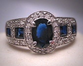 Estate Vintage Sapphire Diamond Wedding Band Ring Art Deco White Gold