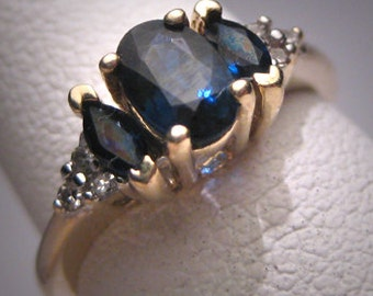 Vintage Sapphire Diamond Wedding Ring Band Retro Art Deco 1950