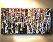 Painting Large Gold Red Black White Textured Tree Abstract Painting Art Canvas oil Wall Decor Artwork Impasto art by OTO