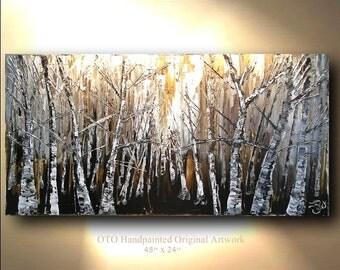 Original Painting Rustic Wall decor Brown Gold Tan White Birch Aspen Tree Landscape Abstract Canvas Panel Texture Artwork Fine art OTO