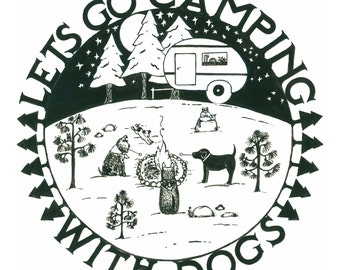 Camping With Dogs Print 12X12