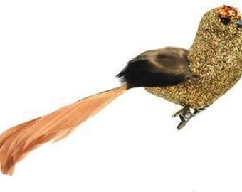 Artificial Decorative 6 Inch BRONZE Glitter Bird with Feather Tail on Clip - Craft Embellishment - Home Decor