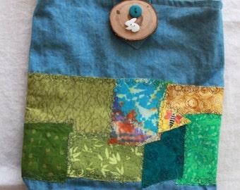Green patchwork purse