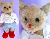 """Puss in Boots Rare Vintage Kersa 17"""" Big Mohair Toy Cat! 1950s Large White Cat Old Antique Stuffed Toy Animal German Teddy Bear Character 50"""