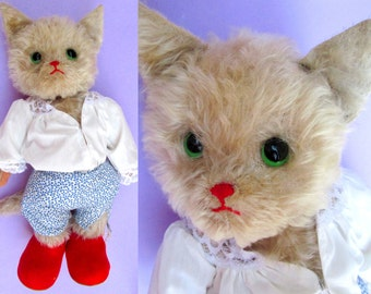 "Puss in Boots Rare Vintage Kersa 17"" Big Mohair Toy Cat! 1950s Large White Cat Old Antique Stuffed Toy Animal German Teddy Bear Character 50"