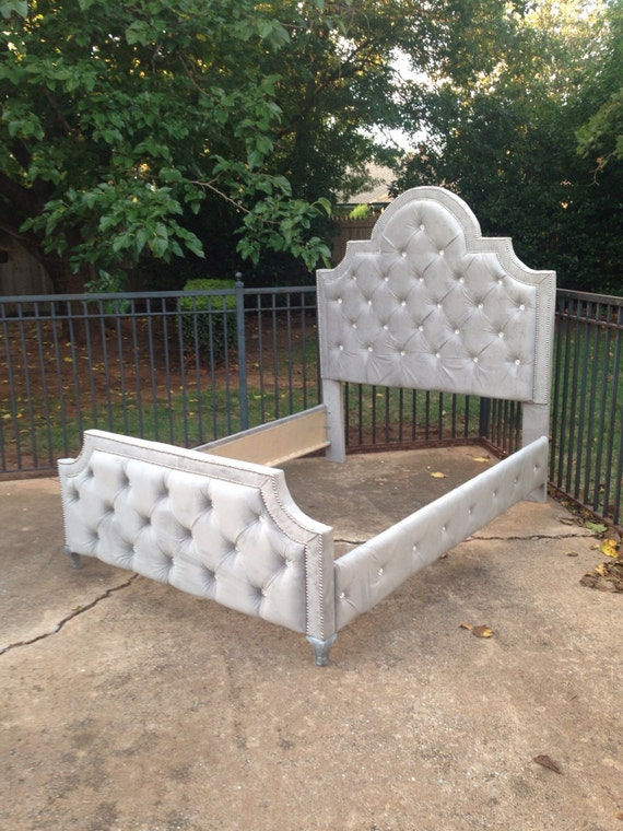 tufted bed gray velvet king queen full twin rhinestone crystal button nailhead trim made to order - Tufted Bed Frame Queen