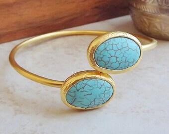 Turquoise Oval Gemstone Stackable Bangle Bracelet - 22k Matte Gold Plated