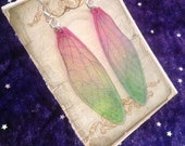 Large Mauve and Soft Green Iridescent Fairy Wing Sterling Silver Earrings