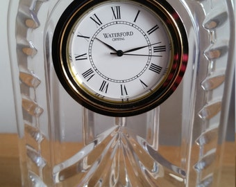 Vintage Waterford Time Pieces Ireland Clock Office Gift Silver Tone Crystal Original Box and Paperwork