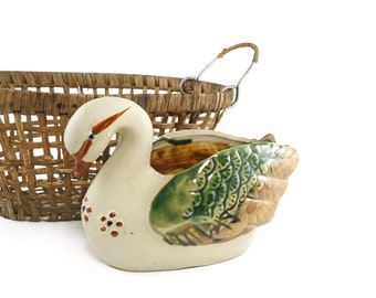 Vintage Ardco goose planter, Country decor, Cottage chic