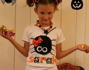 Toddler Personalized Itsy Bitsy Spider Name Shirt -  Toddler Youth Girls Halloween Clothing - Buy 2 Tops Get 1 Top FREE