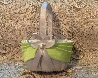 flower girl basket wedding green and gray custom made