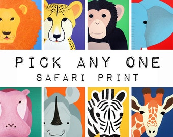 Jungle animal nursery art. Safari prints. ANY 1 modern picture for baby & child, art, zoo for kids rooms and playrooms in purple and yellow