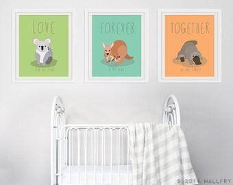 Parenthood prints for baby nursery decor. Australian animal nursery art. Love, always, forever, together. SET OF 3 prints by WallFry