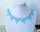 Handmade tatted necklace in blue
