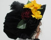 RESERVED LISTING Victorian Bonnet and Tear Drop Hats in Black Velvet