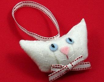 Christmas Cat Ornament, Snow White Cat, Felt Cat Ornament, White Cat Christmas Ornament, Blue Eyed Cats, Felt Christmas Cats, SNOWY